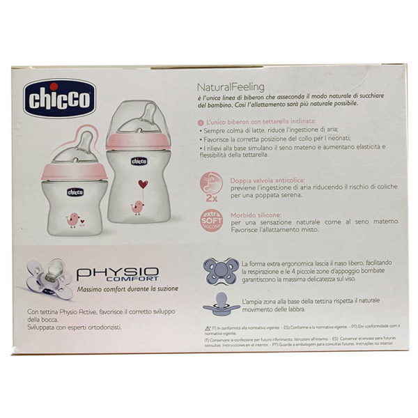 CHICCO SET ROSA 2 BIBERONES 0+ NATURAL FEELING + 1 CHUPETE PHYSIO COMFORT
