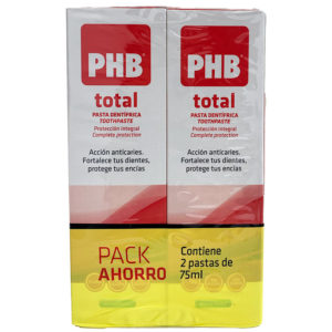 PHB TOTAL PASTA DENTRÍFICA DUPLO 75ML+75ML PACK AHORRO