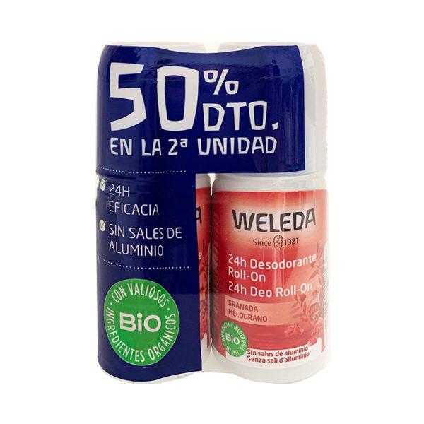 WELEDA DÚO DESODORANTE ROLL ON DE GRANADA 50ML + 50ML 50% 2ªUNIDAD