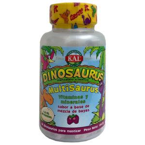 MultiSaurus de Kal son comprimidos masticables con divertidas formas de dinosaurios con sabor a mezcla de bayas. Contiene 22 vitaminas y minerales y está diseñado específicamente para cubrir las necesidades concretas de los más pequeños.