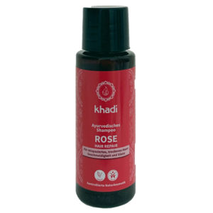 El Champú Ayurveda Rosa Bio de Khadi para fortalecer y proporcionar suavidad y brillo al cabello dañado con aroma a flores.