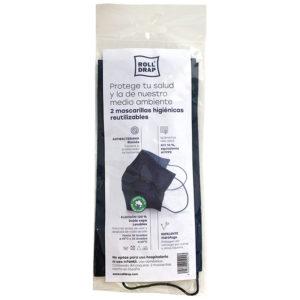 Mascarilla de algodón 100% doble capa. Tejido hidrófugo y biocida con eficacia de filtración de más del 96%. Lavable y reutilizable
